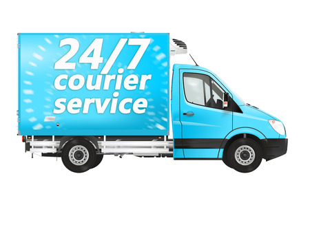 courier service: 247 courier service Van on the white background Stock Photo