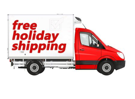 free holiday background: Free holiday shipping. Modern van on the white background. Raster illustration.