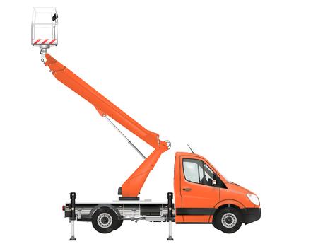 crane bucket: Cherry picker on the white background. Raster illustration.