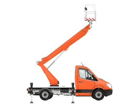 Cherry picker on the white background. Raster illustration.