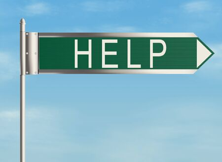 Help. Road sign on the sky background. Raster illustration. Stock Photo