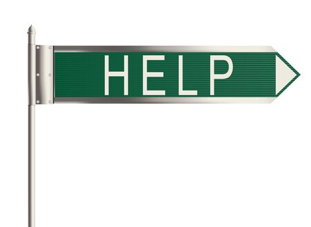 need direction: Help. Road sign on the white background. Raster illustration.