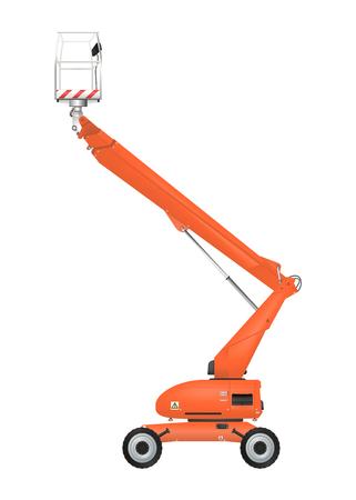 Orange telescopic boom lift. Raster