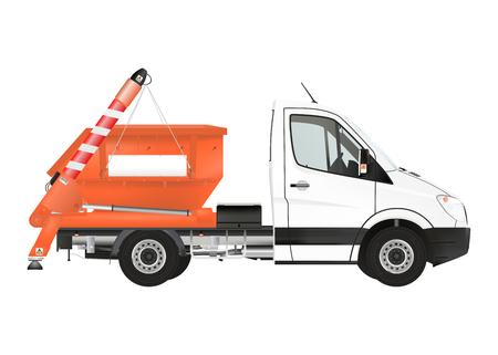 ciężarówka: Przejdź Truck Loader na białym tle. Ilustracja Raster.