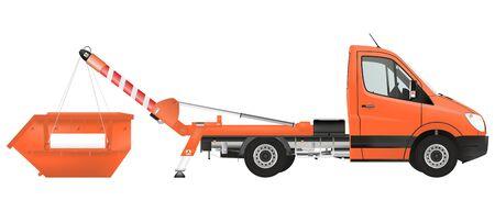 municipal utilities: Skip loader truck on the white background. Raster illustration. Stock Photo