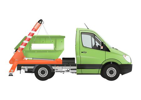 Skip loader truck on the white background. Raster illustration. Archivio Fotografico