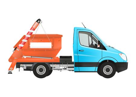 skip: Skip loader truck on the white background. Raster illustration. Stock Photo