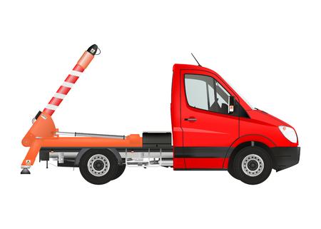 dumper: Skip loader truck on the white background. Raster illustration. Stock Photo