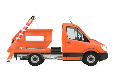 hauler: Skip loader truck on the white background. Raster illustration. Stock Photo