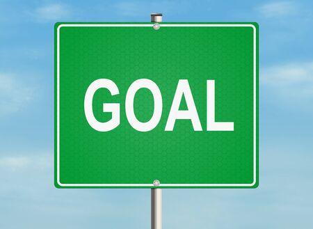 goal setting: Goal. Road sign on the sky background. Raster illustration.