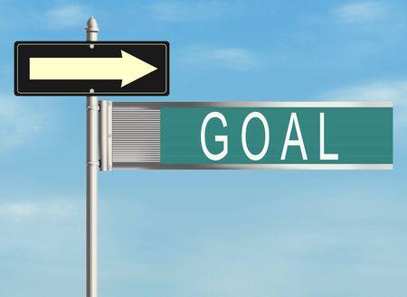 shortcut: Goal. Road sign on the sky background. Raster illustration.