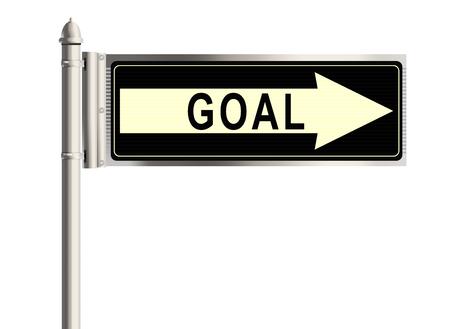 shortcut: Goal. Road sign on the white background. Raster illustration. Stock Photo