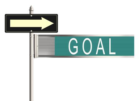 goal setting: Goal. Road sign on the white background. Raster illustration. Stock Photo