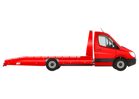 breakdown truck: Flatbed recovery vehicle on the white background. Raster illustration. Stock Photo