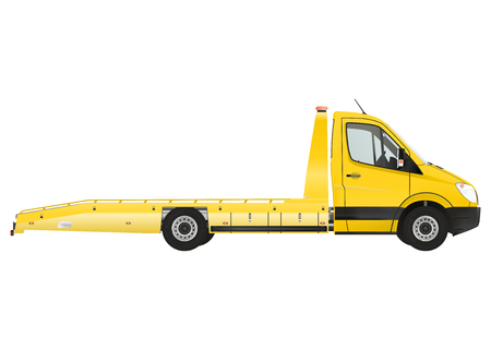 vehicle breakdown: Flatbed recovery vehicle on the white background. Raster illustration. Stock Photo