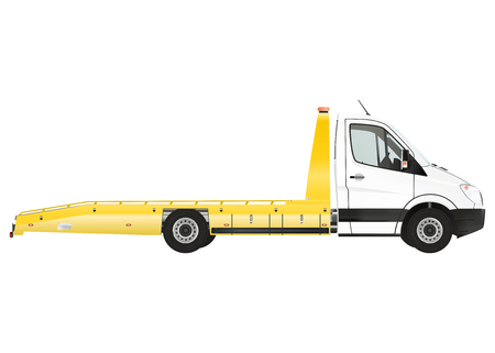 Flatbed recovery vehicle on the white background. Raster illustration. Archivio Fotografico