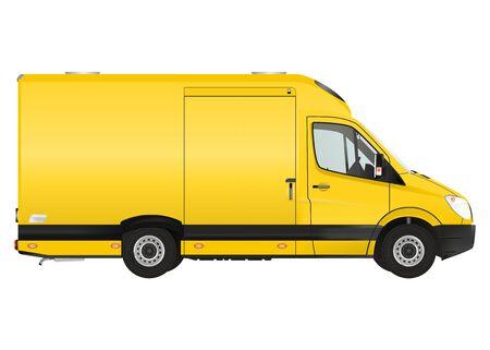 moving van: Courier van on the white background. Raster illustration.