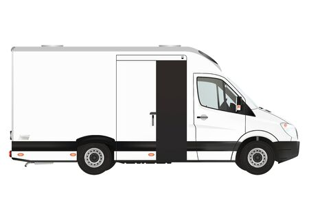 courier: Courier van on the white background. Raster illustration.