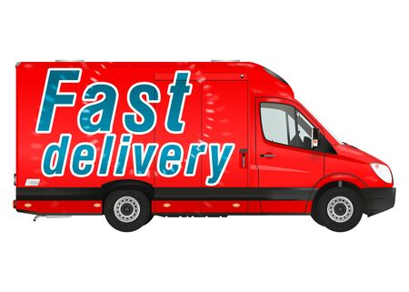 courier: Delivery. Red courier van on the white background. Raster illustration.