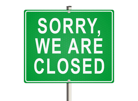 shut out: Sorry, we are closed. Road sign on the white background. Raster illustration. Stock Photo