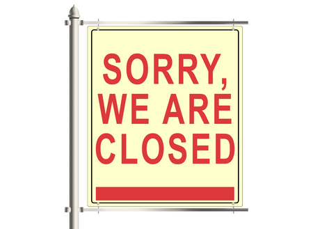 road closed: Sorry, we are closed. Road sign on the white background. Raster illustration. Stock Photo