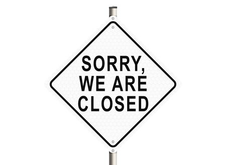 not open: Sorry, we are closed. Road sign on the white background. Raster illustration. Stock Photo