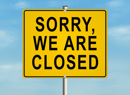 road closed: Sorry, we are closed. Road sign on the sky background. Raster illustration.