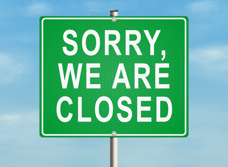 out of order: Sorry, we are closed. Road sign on the sky background. Raster illustration.