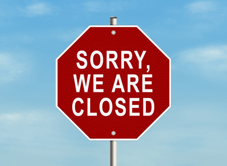 shut out: Sorry, we are closed. Road sign on the sky background. Raster illustration.