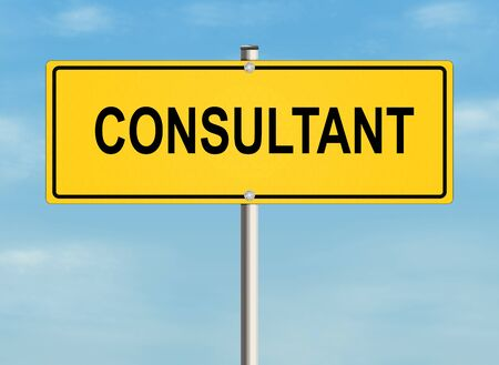 consultant: Consultant. Road sign on the sky background. Raster illustration.
