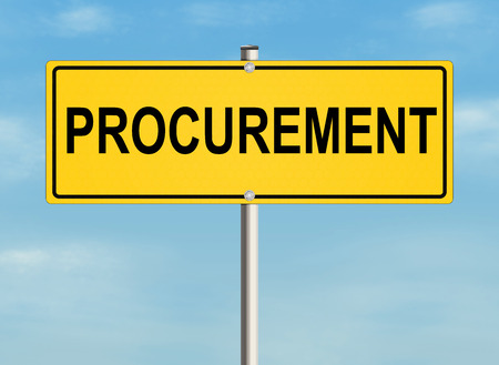 procurement: Procurement. Road sign on the sky background. Raster illustration. Stock Photo