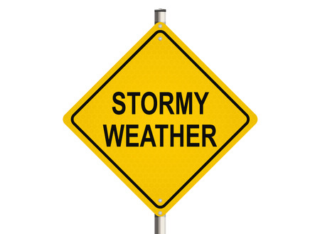 stormy: Stormy Weather. Road sign on the white background. Raster illustration.
