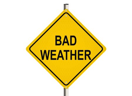 bad weather: Bad Weather. Road sign on the white background. Raster illustration.