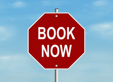 immediately: Book now. Road sign on the sky background. Raster illustration.