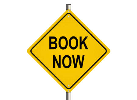 purchase book: Book now. Road sign on the white background. Raster illustration.