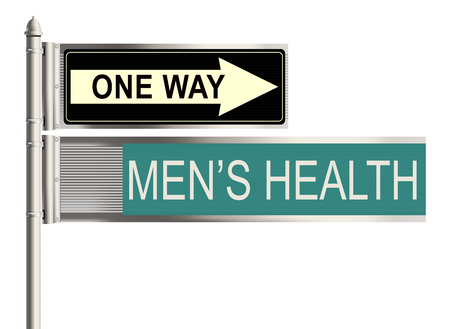 tolerate: Mens health. Road sign on the white background. Raster illustration.