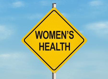 Women's health. Road sign on the sky background. Raster illustration.