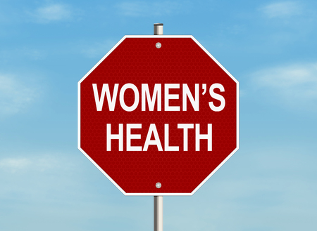 Womens health. Road sign on the sky background. Raster illustration.