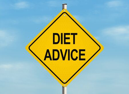 weight reduction plan: Diet advice. Road sign on the sky background. Raster illustration.