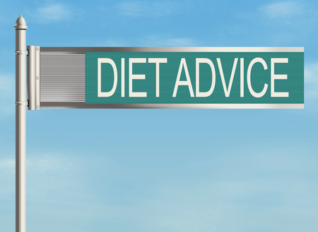 Diet advice. Road sign on the sky background. Raster illustration.
