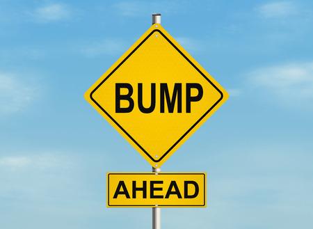 バンプ。空の背景に道路標識。ラスターの図。 写真素材