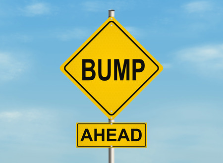 Bump. Road sign on the sky background. Raster illustration.