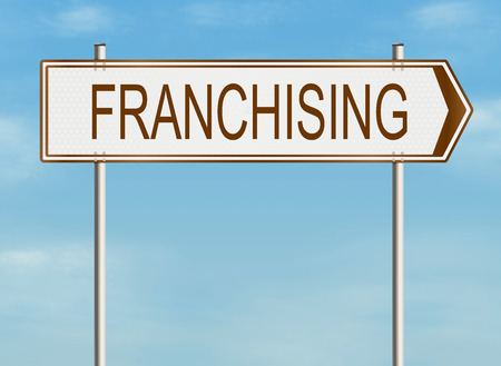 franchising: Franchising. Road sign on the sky background. Raster illustration. Stock Photo