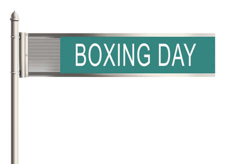 boxing day special: Boxing day. Road sign on the white background. Raster illustration. Stock Photo
