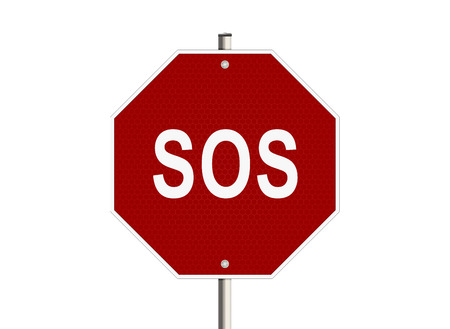 mayday: S.o.s. Road sign on the white background. Raster illustration.