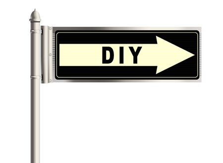 do it yourself: DIY. Do it yourself road sign on the white background. Raster