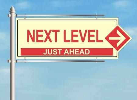 background next: Next Level. Road sign on sky background. Raster