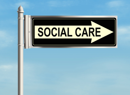 social care: Social care. Road sign on the sky background. Raster illustration.