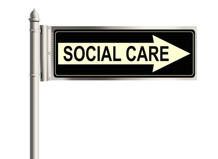 social care: Social care. Road sign on the white background. Raster illustration. Stock Photo