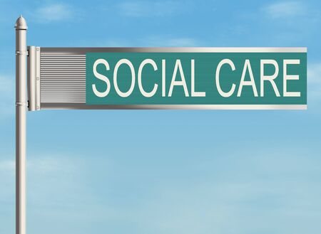 social care: Social care. Road sign on the sky background. Raster illustration.